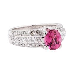 2.56 ctw Pink Tourmaline And Diamond Ring - 18KT White Gold