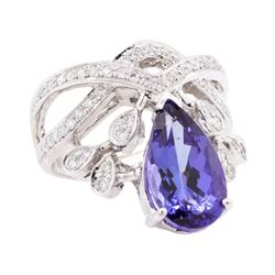4.72 ctw Tanzanite and Diamond Ring - 14KT White Gold
