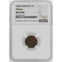 1828-A Germany-Prussia Friedrich Wilhelm II Pfenning NGC MS65BN