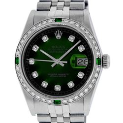 Rolex Mens Stainless Steel Green Vignette Diamond Datejust Wristwatch