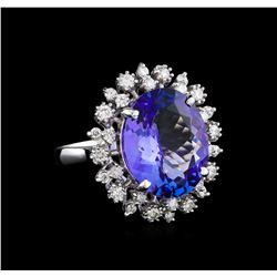 9.88 ctw Tanzanite and Diamond Ring - 14KT White Gold