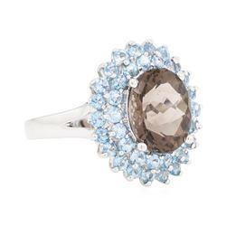 5.15 ctw Smoky Quartz and Blue Topaz Ring - 14KT White Gold