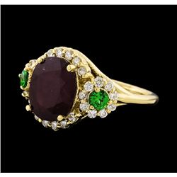 5.47 ctw Ruby, Tsavorite, and Diamond Ring - 14KT Yellow Gold