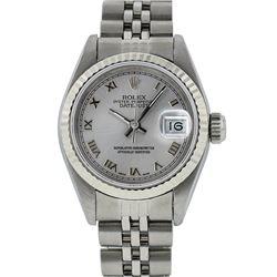 Rolex Ladies Stainless Steel Silver Roman 26MM Datejust Wristwatch