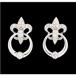 0.34 ctw Diamond Earrings - 14KT White Gold