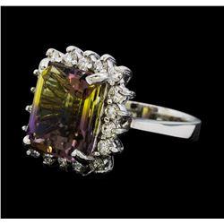 7.70 ctw Morganite and Diamond Ring - 14KT White Gold