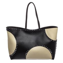 Valentino Garavani Black and Off White Leather Polka Dot Rockstud Tote Handbag
