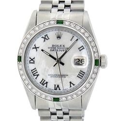 Rolex Mens Stainless Steel Silver MOP Roman 36MM Diamond & Emerald Datejust Wris
