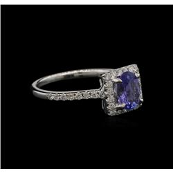 0.78 ctw Tanzanite and Diamond Ring - 14KT White Gold