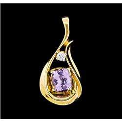 1.70 ctw Amethyst and Diamond Pendant - 14KT Yellow Gold
