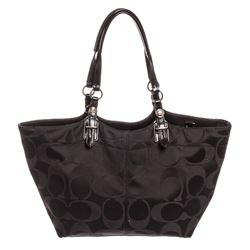 Coach Black Monogram Canvas Patent Leather Trim Tote Bag
