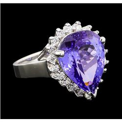 6.36 ctw Tanzanite and Diamond Ring - 14KT White Gold