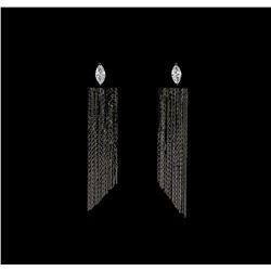 Dangle Crystal Teardrop Earrings - Black Rhodium Plated