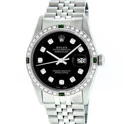 Rolex Mens Stainless Steel Slate Black Diamond & Emerald Datejust Wristwatch