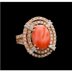 5.89 ctw Pink Coral and Diamond Ring - 14KT Rose Gold
