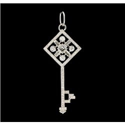 0.56 ctw Diamond Pendant - 18KT White Gold