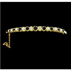 2.00 ctw Sapphire and Diamond Bangle Bracelet - 14KT Yellow Gold
