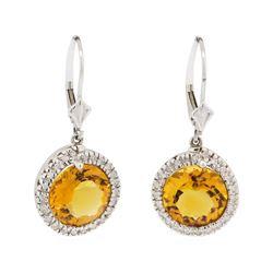 7.47 ctw Citrine and Diamond Earrings - 14KT White Gold