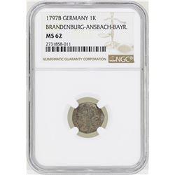 1797B Germany Kreuzer Brandenburg-Ansbach-Bayr Coin NGC MS62