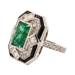 6.46 ctw Emerald and Diamond Ring - 18KT White Gold