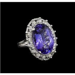 12.01 ctw Tanzanite and Diamond Ring - 14KT White Gold