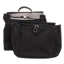 Hermes Black Canvas Leather Toile Herbag GM Bag