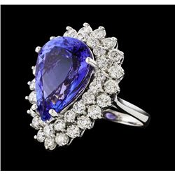 GIA Cert 12.13 ctw Tanzanite and Diamond Ring - 14KT White Gold