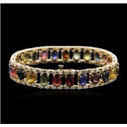 14KT Yellow Gold 23.25 ctw Sapphire and Diamond Bracelet