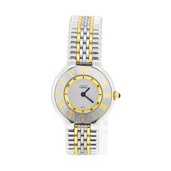 Must de Cartier Sterling Silver and Gold Quartz Wristwatch