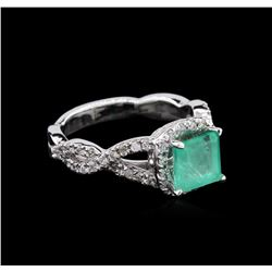 1.45 ctw Emerald and Diamond Ring - 14KT White Gold