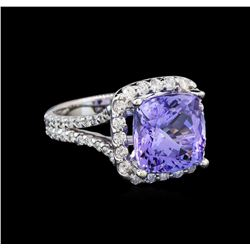 14KT White Gold 6.81 ctw Tanzanite and Diamond Ring