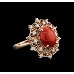 14KT Rose Gold 2.82 ctw Coral and Diamond Ring