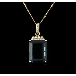 14KT Yellow Gold 31.41 ctw Topaz and Diamond Pendant With Chain