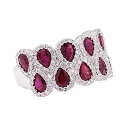 3.55 ctw Ruby And Diamond Ring - 14KT White Gold