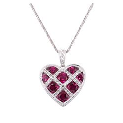 2.65 ctw Lab-Grown Ruby and Diamond Pendant with Chain - 14KT White Gold