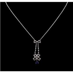 0.69 ctw Blue Sapphire and Diamond Necklace - 18KT White Gold