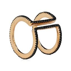 Black Double CZ Circle Ring - Rose Gold Plated