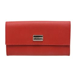 Bvlgari Red White Vinyl Leather Long Wallet