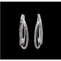 0.99 ctw Diamond Earrings - 14KT White Gold