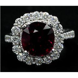 5.30 Carat Cushion Cut Rhodolite Anniversary Diamond Wedding Ring in 14k White G