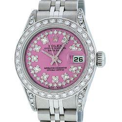 Rolex Ladies Stainless Steel 26MM Pink String Diamond Lugs Datejust Wristwatch