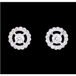 0.80 ctw Diamond Halo Earrings - 14KT White Gold