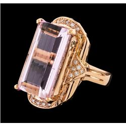 17.17 ctw Kunzite and Diamond Ring - 14KT Rose Gold