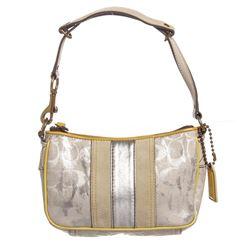 Coach Metallic Silver Monogram Canvas Leather Trim Pochette Handbag