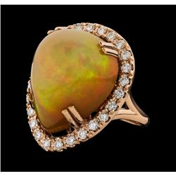 20.05 ctw Opal and Diamond Ring - 14KT Rose Gold