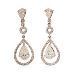14KT White Gold 3.08 ctw Diamond Dangle Earrings