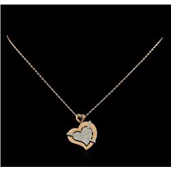 0.72 ctw Diamond Pendant With Chain - 14KT Rose Gold