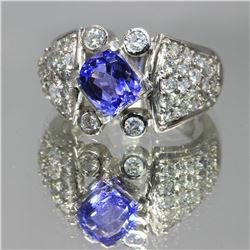 2.50 ctw Tanzanite and Diamond Ring - 14KT White Gold