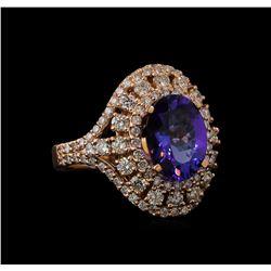 3.11 ctw Tanzanite and Diamond Ring - 14KT Rose Gold