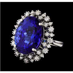 GIA Cert 18.78 ctw Tanzanite and Diamond Ring - 14KT White Gold